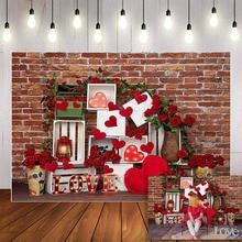 Mehofond Photography Background Valentines Rose Brick Wall Love Heart Baby kids Child Portrait Birthday Backdrop Photo Studio