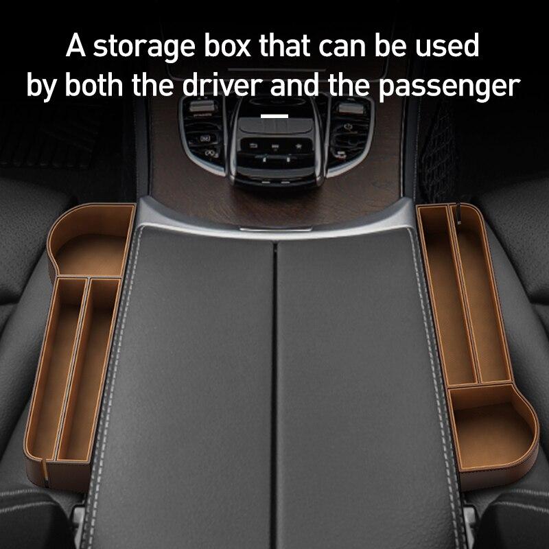 Image 3 - Baseus Car Storage Baskets Box Organizer Seat Gap PU Case Pocket Car Seat Side Slit For Organizer Wallet Keys Phone HoldersStowing Tidying   -
