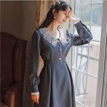 Элегантное платье в полоску в Корейском стиле; милое платье в стиле Питера Пэна с кружевным воротником и длинным рукавом; винтажное приталенное платье миди; Kleid Vestido Mujer; 9108