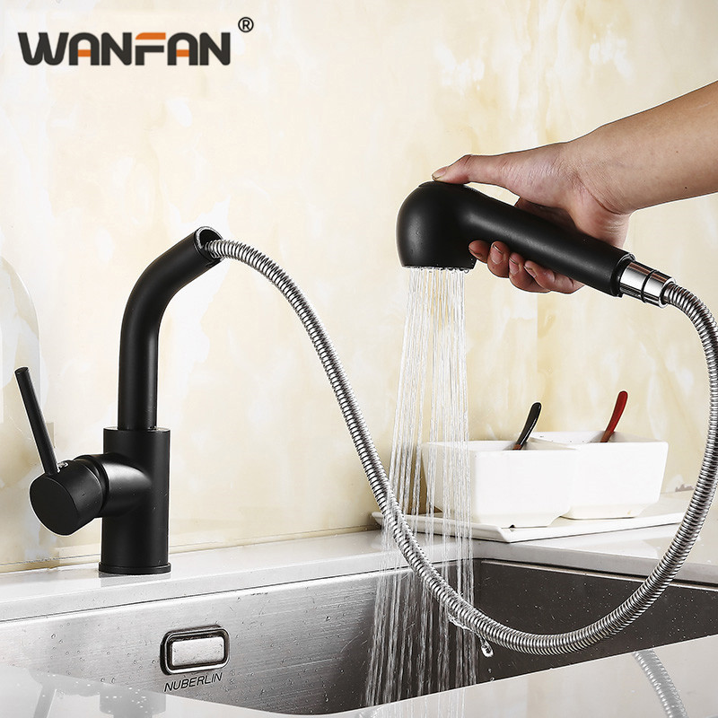 Kitchen Faucets Brass Black 360 Rotate Kitchen Sink Faucet Pull out Kitchen Water Tap Deck Mount Mixer kitchen faucets N22-150