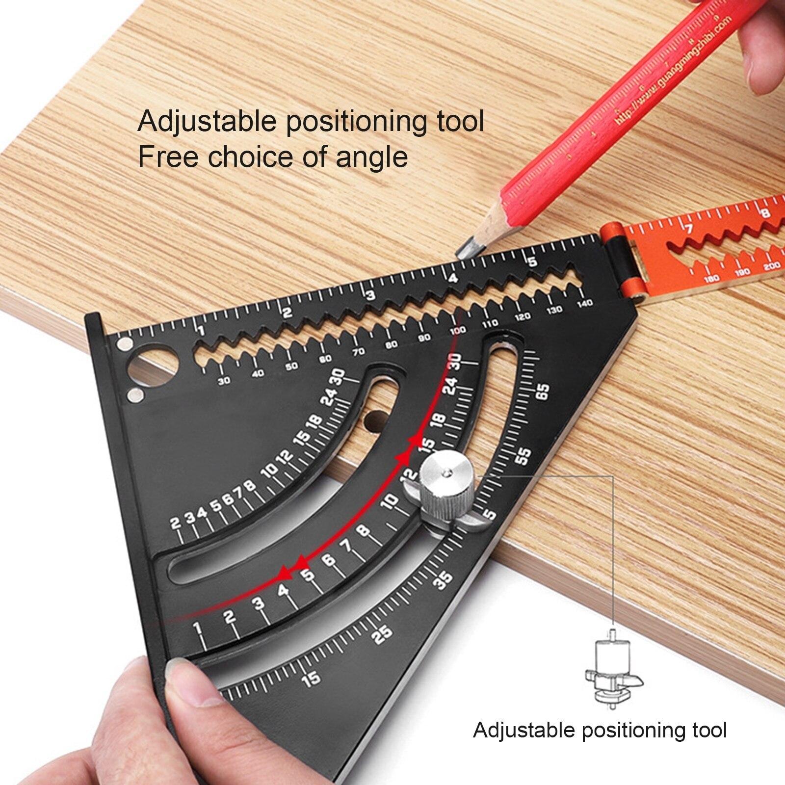 Regla de cuadrados triangulares plegables, herramienta de carpintería de ángulo de posicionamiento, aleación de aluminio, diseño extensible 2 en 1 con goniómetro de Base