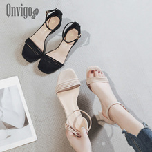 Qnvigo Women's Shoes Low Heels Middle Elegant Summer Sandals For Women Party Dress Square Heel Fashion 202