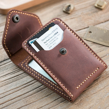 Vintag Handmade Crazy horse Genuine Leather card horder men Card ID Holders leather buiness card wallet driving license holder thinkthendo vintage men crazy horse leather bifold wallet genuine leather wallet card holder