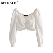 KPYTOMOA Women 2020 Fashion Decorate Buttons Cropped Blouses