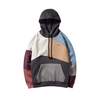 Color Block Patchwork Fleece Hoodies Mens Winter Hip Hop Fashion Pullover Hooded Sweatshirts Men Hoodie Streetwear