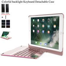 Voor iPad 2018 9.7 ''Draaien Kleurrijke Backlight Wireless Bluetooth Keyboard Case Cover Voor iPad 2017 Air 2 1 ABS + PC Fundas(China)