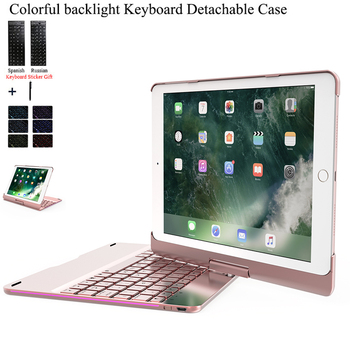 цена на For iPad 2018 9.7'' Rotate Colorful Backlight Wireless Bluetooth Keyboard Case Cover For iPad 2017 Air 2 1 ABS+PC Fundas