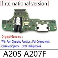10 unids/lote USB puerto del cargador del muelle de carga del conector de placa FLex Cable Mic micrófono junta para Samsung A20S A207F M12 M14
