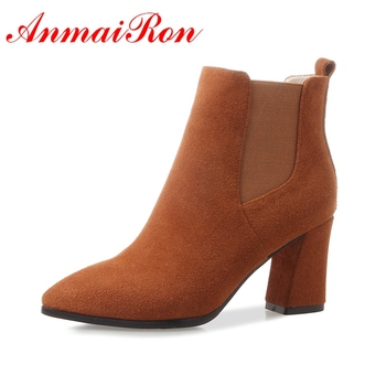 AnmaiRon   Basic Square Heel  Winter Shoes Women Ankle Boots Women  Botas Mujer  Womens Winter Fashion 2018 Size34-39 LY144
