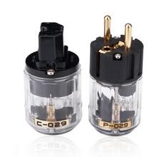 Gold OyaideชุบP 029E + C 029 Schukoปลั๊กHifi IEC Connector MATIHUR DIYเสียงคู่ปลั๊กอะแดปเตอร์คู่