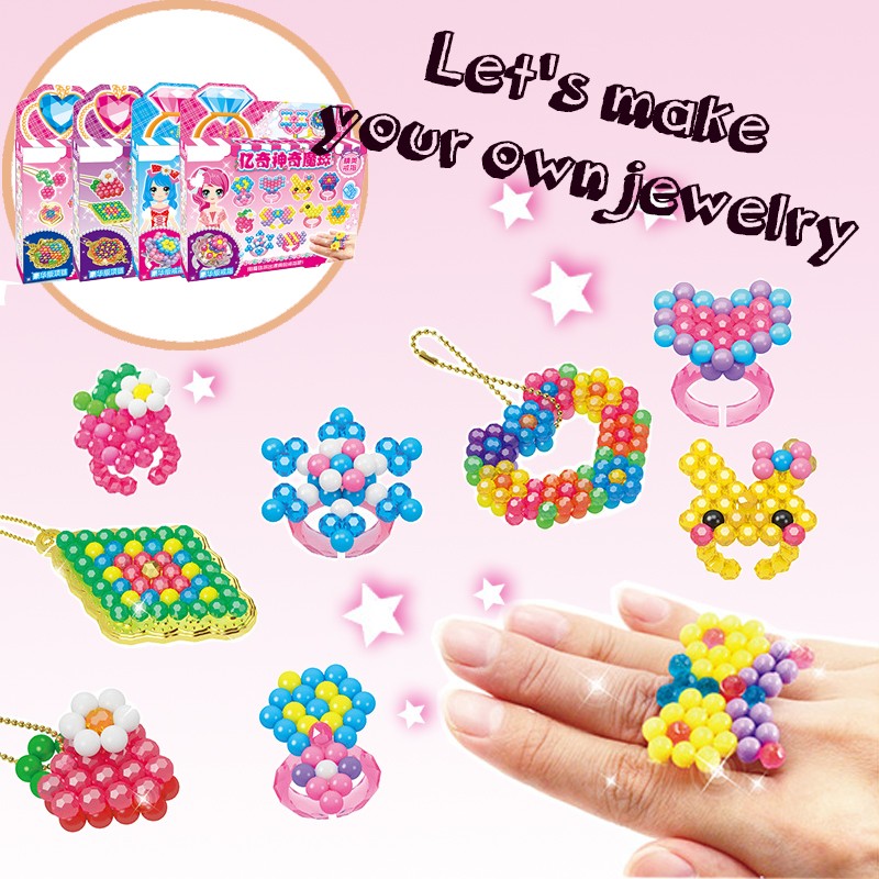 DIY Jewelry Ring Necklace 1010PCS Water Sticky Beads Girls Toys Crystal Color Water Spray Educational Toys Beads For Kids Gift