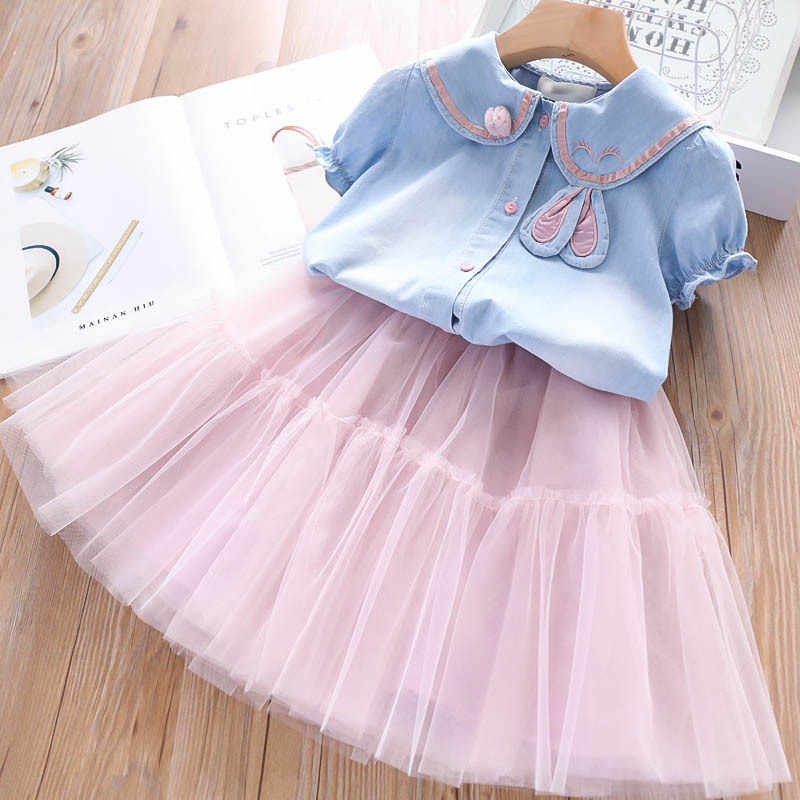 iiniim 2Pcs Baby Girls Long Sleeve Outfits Embroidered Floral Denim Spread Collar Top Shirt with Tutu Skirt Set