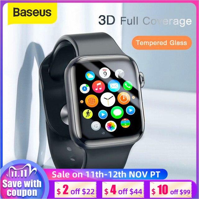 Baseus 0.2mm 얇은 보호 유리 Apple Watch 4 5 6 SE 3D Full Coverage 강화 유리 iWatch 4 3 2 화면 보호기