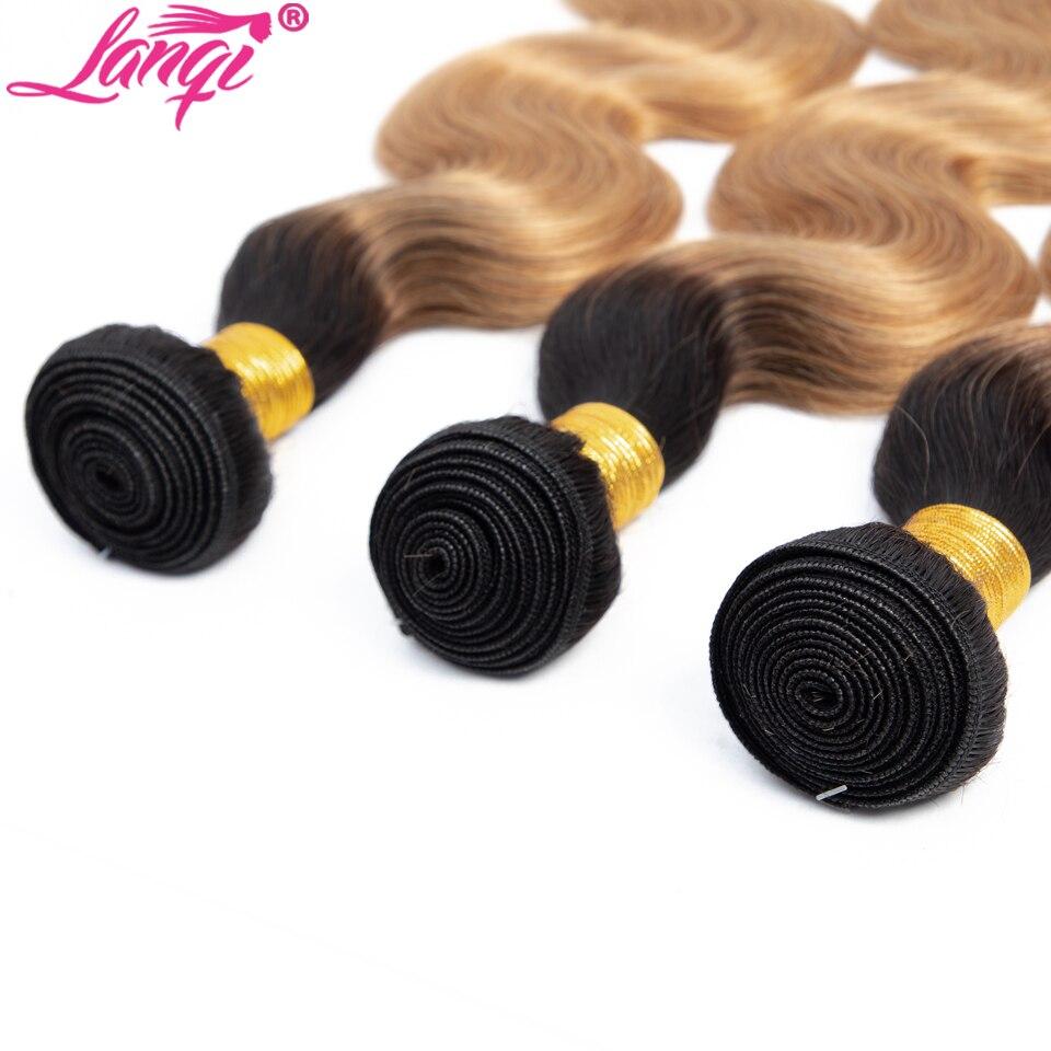 lanqi Body Wave bundles 12-26 Inches 1b 27 blonde Ombre Human Hair Bundles Peruvian brazilian hair weave Bundles Deals Non Remy hair extension