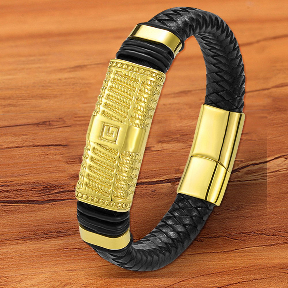 Luxury Charm Woven Designer Jewelry Magnetic Gold Genuine Leather Bracelet Men Hand Rope Wholesale Accessories Gift