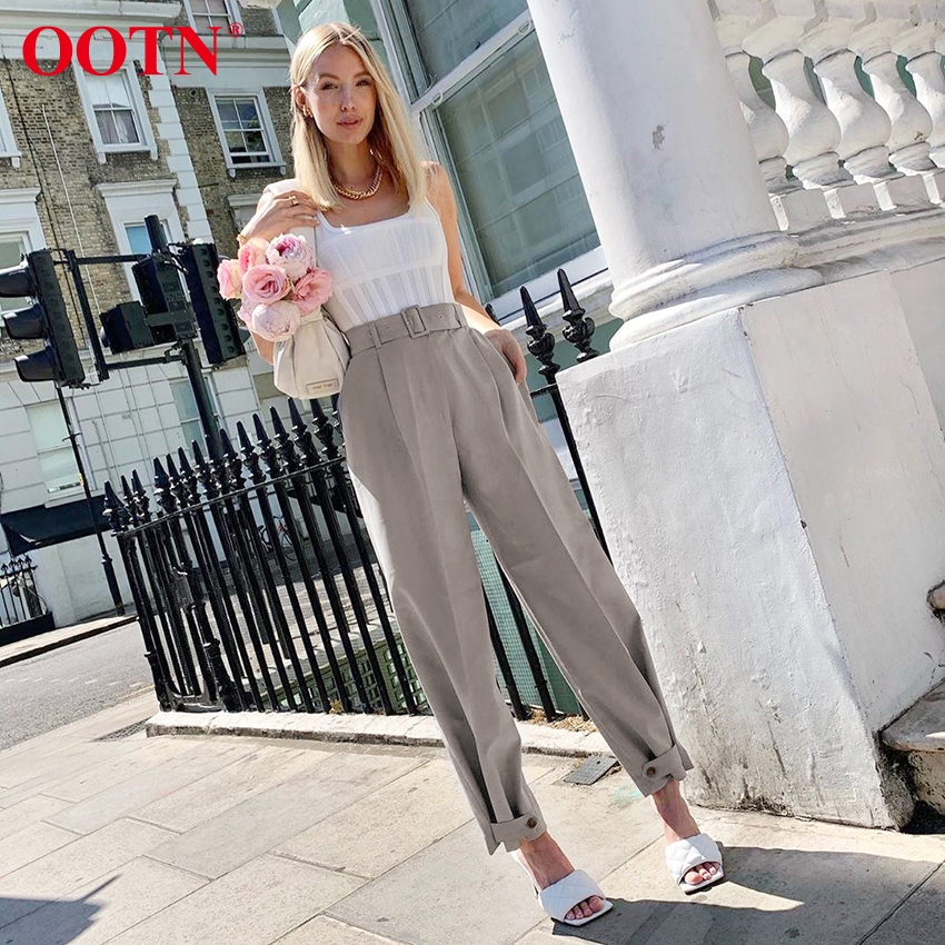 OOTN Female Pants Women'S Pants Belted Zipper Fly Straight Casual Gray Office Pants Beam Feet Women High Waist Button Trousers