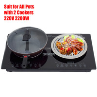 220V 2200W Electric Induction Cooker Cooktop Stove Cookware Hob Ceramic Stove Suit for All Pots with 2 Cookers 220V 2200W