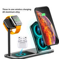 For Airpods Pro iWatch Series 5 iPhone Wireless Fast Charger Stand Dock Three-In-One Aluminum Alloy Wireless Charging Stand