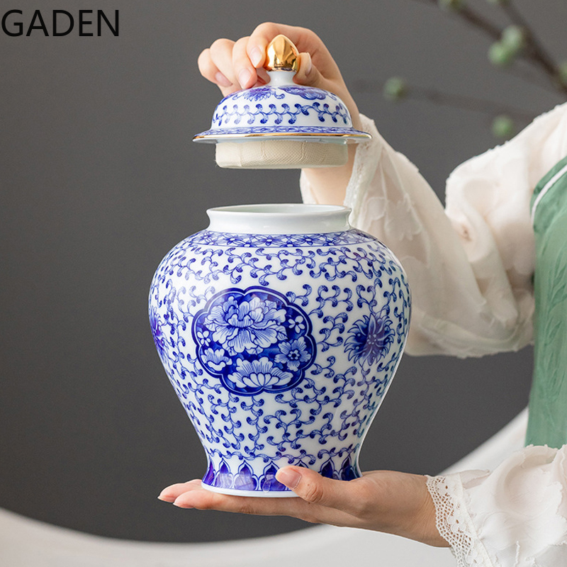 Blue and White Porcelain Tea Caddy Ceramic General Sealed Pot Tea Box Tea Caddy Storage Jar Household Decoration Accessories