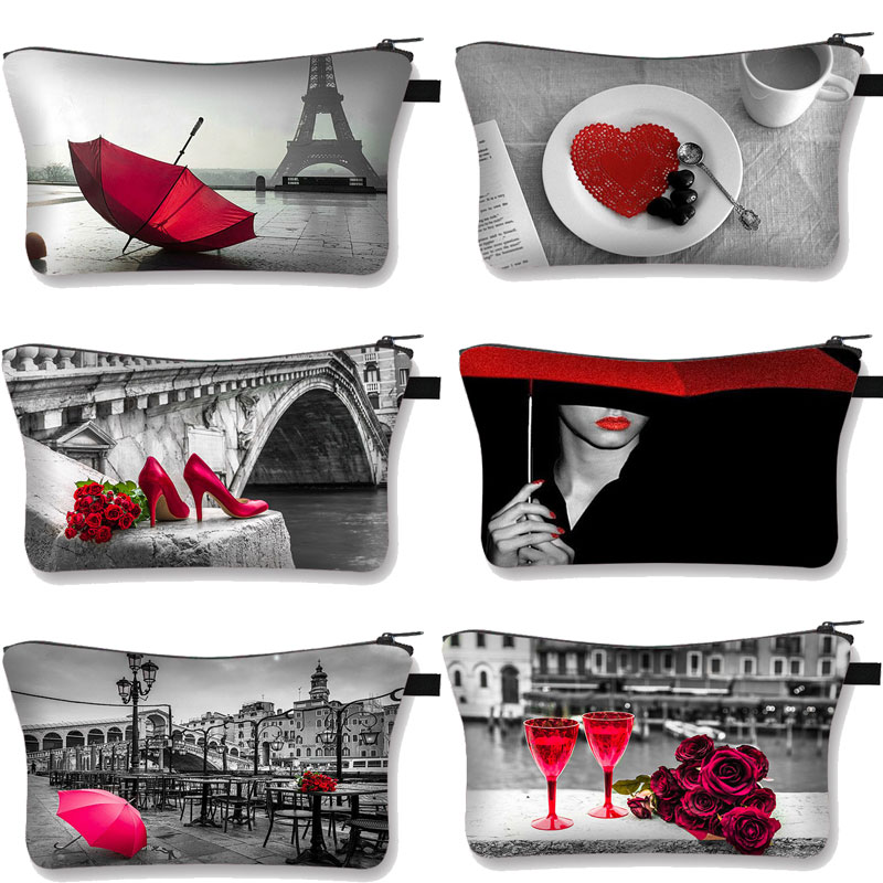 Rose Embroidery Red&Black Series Cosmetic Case Woman travel Cosmetic Bag large capacity storage bag Organizer Make up Cases