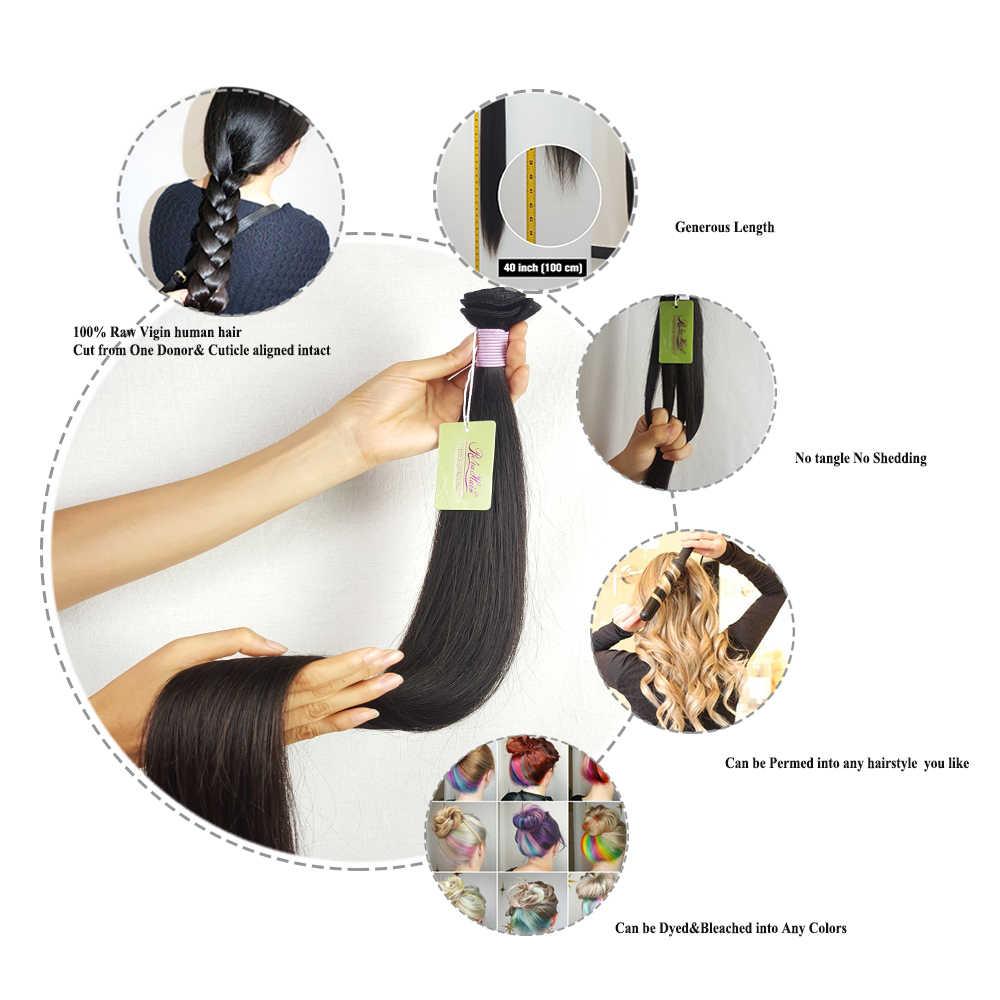 Brazylijski włosy wyplata wiązki 30 cal z pierwszego tłoczenia skórek Aligined prosto 10a Re4U najwyższej jakości 4 wiązki nieprzetworzone surowe doczepiane włosy