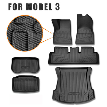 Car Floor Mat And Rear Trunk Mats For Tesla Model 3 Cargo Liner Tray Protective
