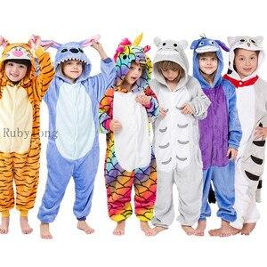 Kigurumi Girls Boy Onesies Kids Winter Onesies Unicorn Cartoon Anime Animal Pajamas Sleepwear Jumpsuit Children Blanket Sleepers