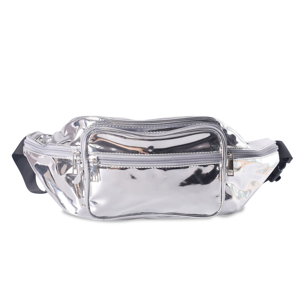 Laser Waist Packs PU Leather Pillow Fashion Fanny Belt Bags Silver Chest Phone Storage Bag