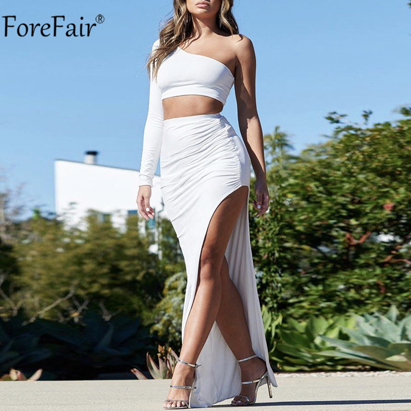 Forefair Women Autumn Summer Party Club Two Piece Set One Shoulder Crop Top Sexy Backless White Black And Long Slit Ruched Skirt