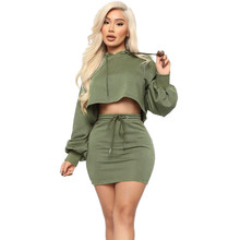 2020 Spring Autumn Two Piece Skirt Set Women Hooded Long Sleeve Sweatshirt Crop Top and Mini Skirt Casual Club 2 Piece Outfits