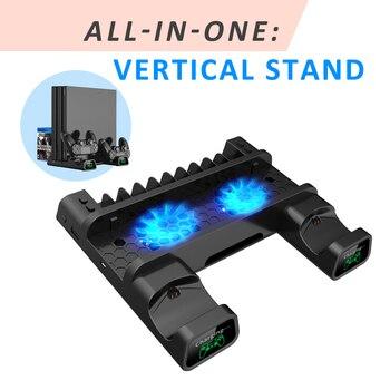 OIVO PS4/PS4 スリム/PS4 プロデュアルコントローラ充電器コンソール垂直冷却スタンド充電ステーション 4 用プレイステーション 4 -