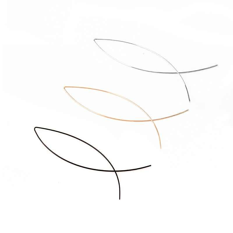 De las mujeres de moda en forma de pez simplicidad hecha a mano de alambre de cobre alambre pendientes de enhebrar