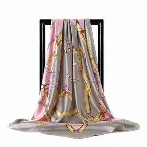 2020 Silk Scarf Women Hijab Fashion Luxury Brand Designer Soft Kerchief 90*90cm Square Shawls and Wraps Satin Headscarf DL011