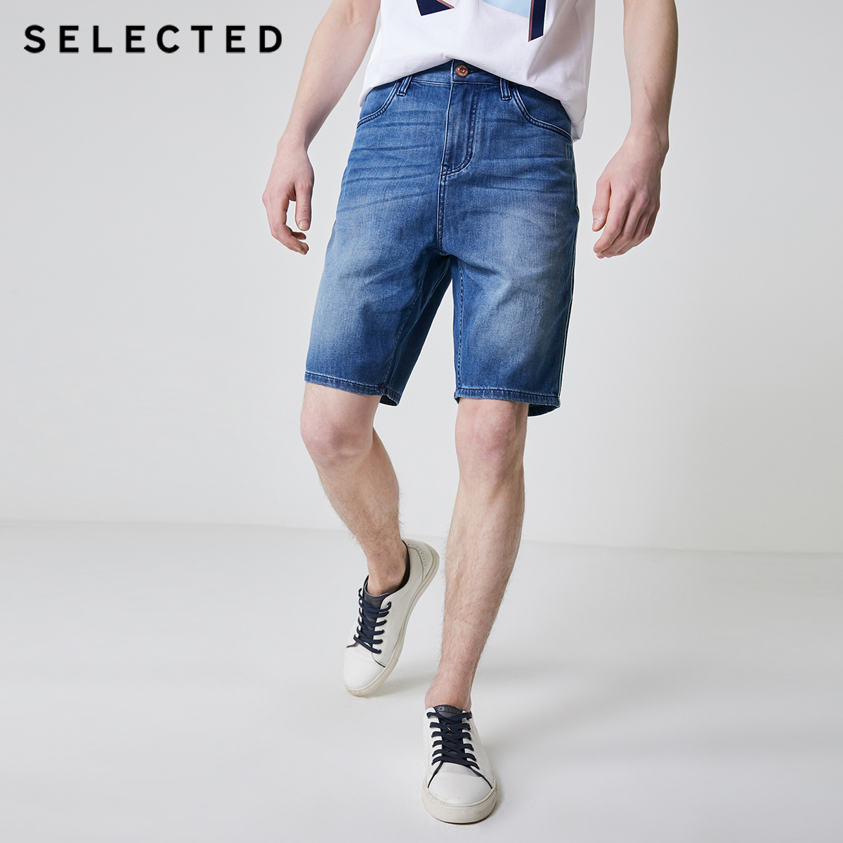 SELECTED Men's Casual Loose Fit Faded Denim Shorts C|4192S3510