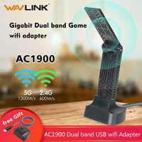 Wavlink AC1900 adaptador USB 3,0 de doble banda 5Ghz 1900mbps Wifi adaptador de antena 2,4G 802.11AC receptor Wifi adaptador de red inalámbrica
