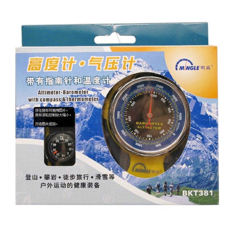 4in1 boussole mécanique baromètre altimètre élévation Table thermomètre lampe de poche LED Mini boussole suspendus anneau Type nouveau