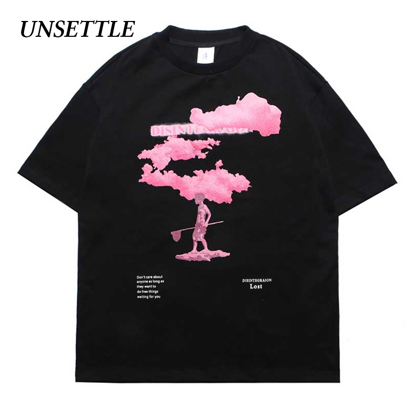 UNSETTLE Harajuku t shirts Summer <font><b>Funny</b></font> <font><b>Tshirt</b></font> Men/Women Hip Hop Fashion Pink Print Design Streetwear T-shirts Short Sleeve Tee image