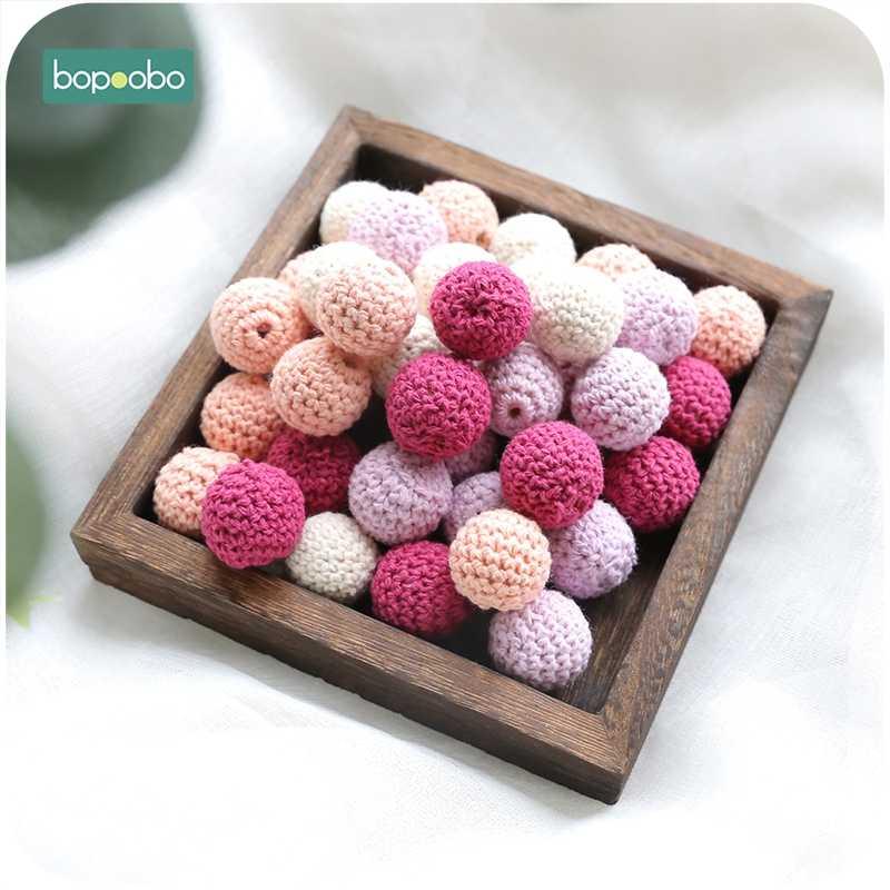 Bopoobo 20mm 10 sztuk drewniane koraliki szydełkowe koraliki do żucia DIY drewniane ząbkowanie Knitting koraliki biżuteria szopka zabawka sensoryczna gryzak dla dzieci