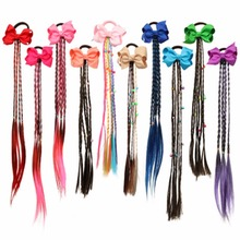 Hair Accessories Colorful Bowknot Wig Hair Rope for Girls Long Pigtails Hair Bows Ties Rubber Band Fashion Kids Braider Headwear