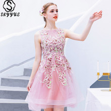 Skyyue Cocktail Dress Sexy Sleeveless Mini Cocktail Dresses 2019 Crepe Lace Tank Plus Size Embroidery Robe Cocktail E610 фото