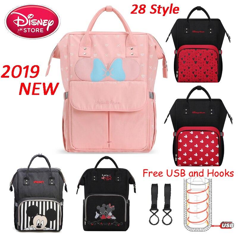 Genuine Disney Mummy Diaper Bags With USB Bottle Insulation Feeding Bag Waterproof Mom Bags Mickey Minnie Handbag Backpack