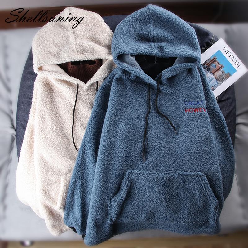 Shellsuning Furry Hoodies Women Autumn Winter Clothes Casual Fleece Loose Pullover Pocket Hoody Sweatshirt Thicken Fluffy Jacket