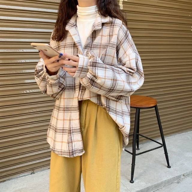Women Blouses Turn-down Collar Spring Shirts Plaid All-match BF Batwing-sleeve Loose Outwear Harajuku Female 4 Colors Chic New 5