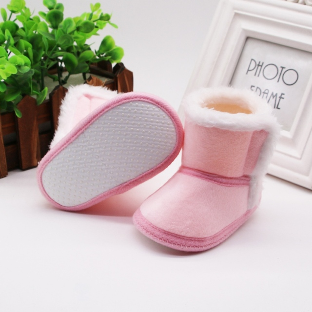 DOGEEK Winter Baby Boys Girls Shoes First Walker Winter Infants Warm Shoes Faux Fur Girls Baby Booties Leather Boy Baby Boots 5