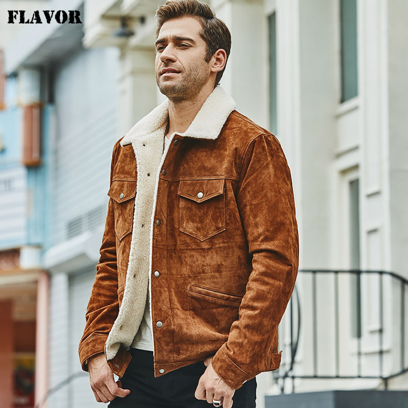 FLAVOR New Men s Real Leather Jacket Genuine Leather With Faux Shearling Warm Coat Men FLAVOR New Men's Real Leather Jacket Genuine Leather With Faux Shearling Warm Coat Men