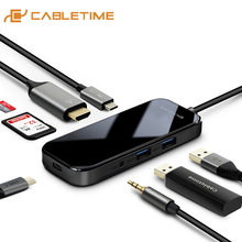 USB C 허브 도킹 스테이션 MacBook Pro 액세서리 용 멀티 USB 3.0 HDMI 어댑터 독 유형 C 3.1 분배기 3 포트 iWatch C251