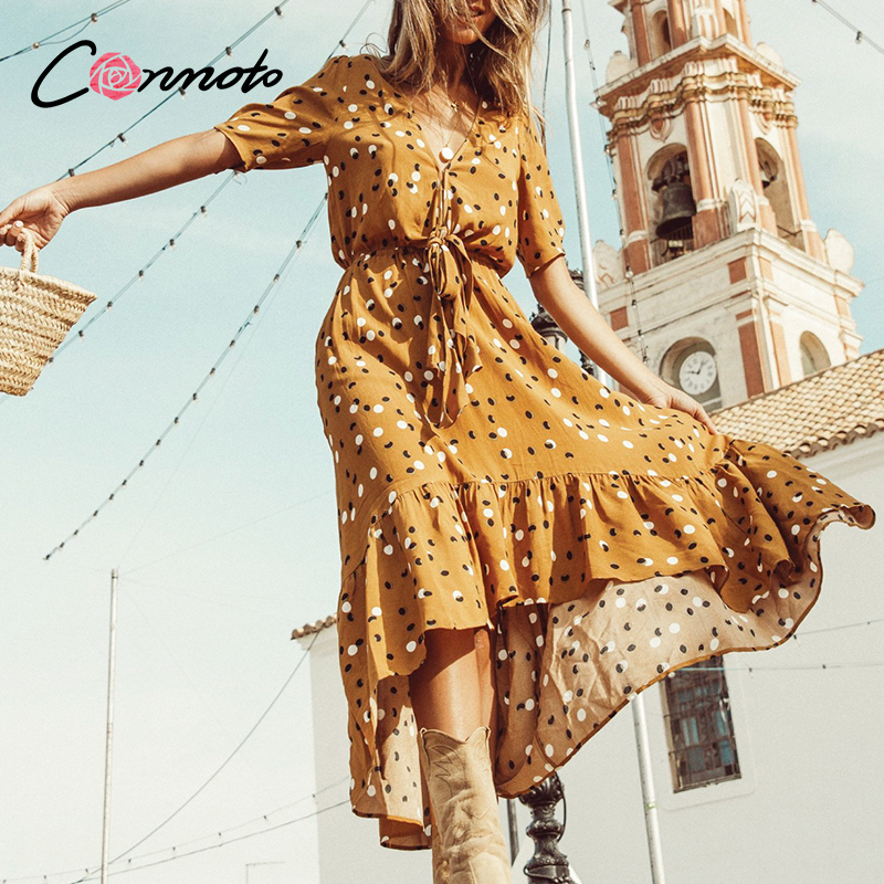 Conmoto Ruffles Vintage Summer 2020 Long Dresses Women Sexy Beach Casual Maxi Dress Female Bow Boho Bow Lace Up Dress Vestidos