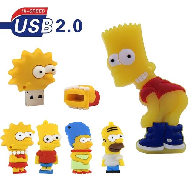 De silicona modelo Bart Simpson familia 128MB GB 32GB 64GB de memoria PenDrive USB U disco Pen Drive con dibujo animado USB Flash Drive lindo regalo