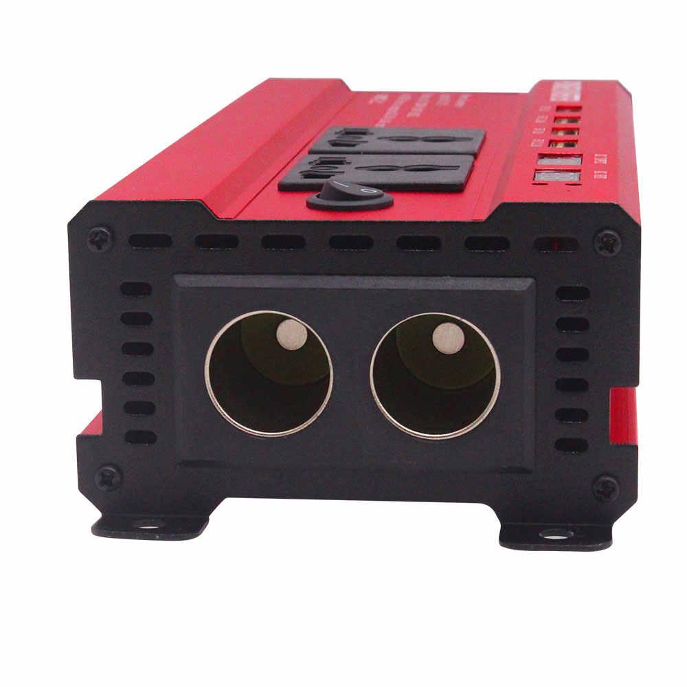 Dual USB 2000W vatios cc 12V a CA 220V adaptador de convertidor de cargador de inversor de corriente de coche portátil cc 12 a CA 220 onda sinusoidal modificada