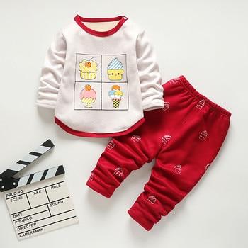 Baby Kids Pajamas Sets Boys Sleepwear Suit Autumn Winter Warm Girls Long Sleeve Pijamas Tops+Pants 2pcs Children Clothing 1
